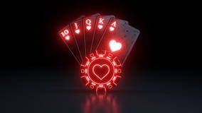Królewski sekwens w serce grzebaka kartach do gry Z Neonowymi światłami Odizolowywającymi Na Czarnym tle - 3D ilustracja ilustracja wektor