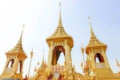 Królewski Złocisty Crematorium dla królewiątka Bhumibol Adulyadej w Thailand przy Listopadem 04, 2017 Obraz Royalty Free