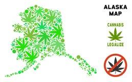 Królewskości Bezpłatna marihuana Opuszcza kolażu Alaska mapę Zdjęcia Royalty Free