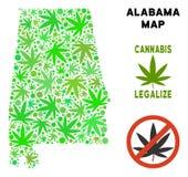 Królewskości Bezpłatna marihuana Opuszcza mozaiki Alabama stanu mapę ilustracja wektor