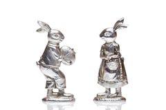 królików Easter żeński samiec srebro Zdjęcia Royalty Free