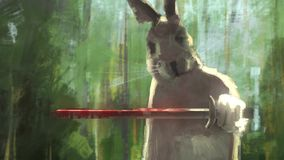 Królików samurajów pojęcia sztuki istoty ssak trzyma krwistego kordzika w dżungli relacji wideo ilustracja wektor