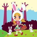 królik dziewczyna royalty ilustracja