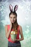 Królik, Easter dziewczyna Zdjęcie Royalty Free