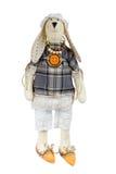Królik handmade zabawka odizolowywająca na bielu Zdjęcia Royalty Free