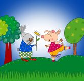 Królik i świnia Obrazy Royalty Free