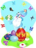 Królik, jajka, kwiaty i motyl, ilustracji