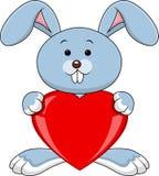 Królik kreskówka z czerwonym sercem Zdjęcia Royalty Free