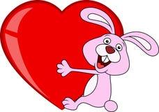 Królik kreskówka z miłości sercem Obrazy Stock