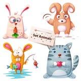 Królik, ryba, kot - ustaleni zwierzęta ilustracja wektor