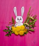 Królik w bukiecie trawa i dandelions kwitnie Zdjęcie Royalty Free