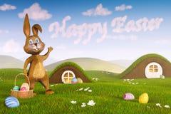 Królik wskazuje przy chmurami tworzy słowa ` Szczęśliwy Wielkanocny ` Zdjęcie Stock