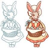 Królik z koszem Wielkanocni jajka Obraz Royalty Free