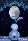 Królik z owalną księżyc w nocy Zdjęcie Royalty Free