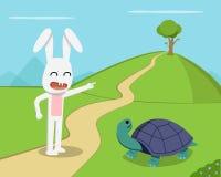 Królik zaprasza tortoise rywalizacja, wektor ilustracji