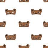 Królika, kota i niedźwiedzia dzieciaki, doodle maska bezszwowego wzór Fotografia Stock