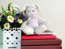 Królika królika lali obsiadanie na notatniku z sztucznym kwiatem Zdjęcia Stock