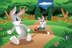 Króliki ciągnie Wielkanocnego jajka furę ilustracji