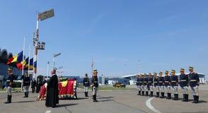Królowa Anne Rumunia umiera przy 92 przy Otopeni lotniskiem międzynarodowym - ceremonia Fotografia Stock