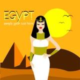 Królowa Egypt Cleopatra, także znać jako piękna królowa w świacie, Wektorowy ilustracyjny projekt Obrazy Stock