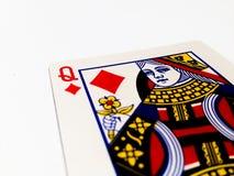 Królowej płytek, diamentów karta z Białym tłem/ Zdjęcia Royalty Free