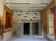 Królowej ` s Megaron w Antycznym Knossos, Archeologiczny miejsce na Crete wyspie zdjęcia stock