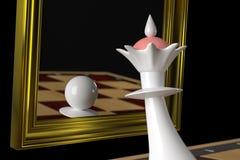 Królowych spojrzenia w lustrze, widzią pionka w odbiciu Na czarnym tle 3D-rendering, ilustracja ilustracja wektor