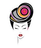 Krótka włosianego stylu ikona, logo kobiety stawia czoło Obrazy Royalty Free