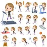 Krótkiego włosy czerni odzieży kobiety ćwiczenie & sporty royalty ilustracja
