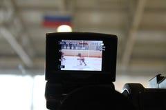 Krótkopęd kamera mecz hokeja zdjęcia royalty free