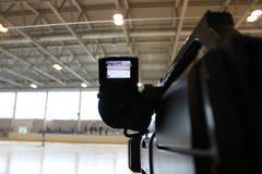 Krótkopęd kamera mecz hokeja zdjęcie stock