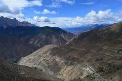 Krökning 72 för flod för Tibet landskap- ilsken Royaltyfri Fotografi