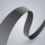 Krökt band för grått tyg på grå bakgrund Fotografering för Bildbyråer