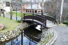 Krökt bro via kanalen Royaltyfri Bild