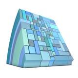 krökt former 3d i blue på white Arkivfoto