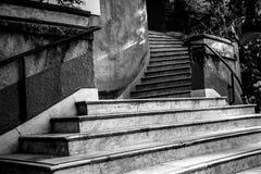 Krökt marmortrappa utanför i en parkera i Sao Paulo Arkivfoto