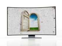 Krökt OLED-television Fotografering för Bildbyråer