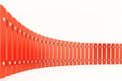 Krökt rött staket, perspektivsikt Arkivbilder