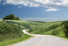 Krökt stenlagd huvudvägspolning till och med gröna kullar Royaltyfria Bilder