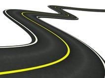 krökt väg för asfalt stock illustrationer