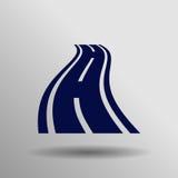Krökt vägsymbol Arkivfoto