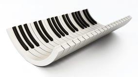 Krökta pianotangenter som isoleras på vit bakgrund illustration 3d Fotografering för Bildbyråer