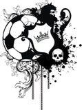 Kröna den heraldiska svarta vapenskölden för futbolen för lejontatueringfotboll Arkivfoto