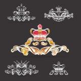Kröna vektorn, dekorativa beståndsdelar i tappningstil för garneringorientering som inramar, för tektstaen för annonsering, illus vektor illustrationer