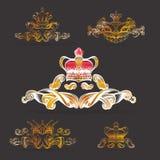 Kröna vektorn, dekorativa beståndsdelar i tappningstil för garneringorientering som inramar, för tektstaen för annonsering, illus stock illustrationer