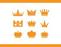 Krönar vektorsymboler Royaltyfri Bild