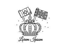 Krönen Sie Entwurf mit Flaggen von Kanada und von Großbritannien Schwarzweiss-Vektorlogo, Illustration Lizenzfreie Stockfotos