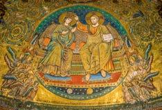 Kröning av oskulden, mosaik av Jacopo Torriti i basilikan av Santa Maria Maggiore i Rome, Italien royaltyfri fotografi