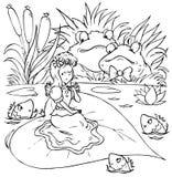 Kröten und kleines Mädchen in den Rissen Stockfotografie