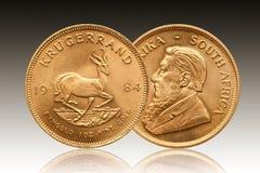 Krügerrand 1 Unze-Goldmünze Südafrika 1984 lizenzfreie stockbilder
